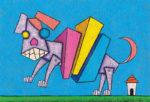 積み木イヌ / アクリル絵具,キャンバス紙