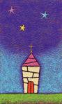 真夜中の教会 / アクリル絵具,キャンバス紙