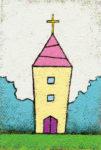 森の中の教会 / アクリル絵具,キャンバス紙