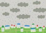 雨の降る街 / 鉛筆,折紙,フォトショップCS4